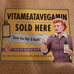 Metal I Love Lucy Vitameatavegain sign